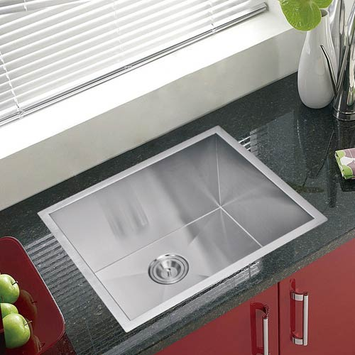 Water Creation Premium Scratch Resistant Satin 23-Inch, Zero Radius Single Bowl Undermount Kitchen Sink Combo with Drain,
