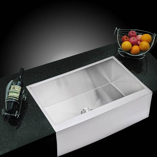 Water Creation Premium Scratch Resistant Satin 33-Inch, Zero Radius Single Bowl Apron Front Kitchen Sink with Drain and