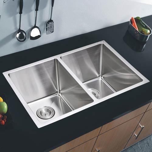 Water Creation Premium Scratch Resistant Satin 29-Inch, 15 mm Corner Radius Double Bowl Undermount Kitchen Sink with Drain