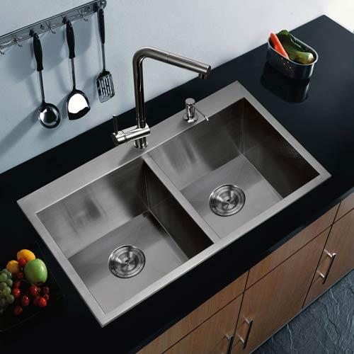 Water Creation Premium Scratch Resistant Satin 33-Inch, Zero Radius Double Bowl Drop in Kitchen Sink
