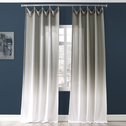 Ombre Faux Linen Semi Sheer Ombre Slate 84 x 50-Inch Curtain Single Panel