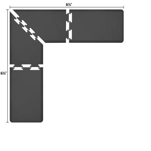WellnessMats PuzzlePiece 2-Ft. L-Series Black 6.5x6.5 Premium Anti-Fatigue Mat