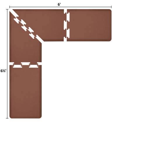 WellnessMats PuzzlePiece 2-Ft. L-Series Brown 6.5x6 Premium Anti-Fatigue Mat