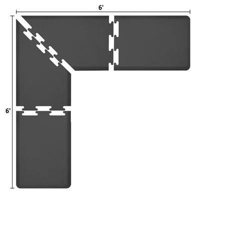 WellnessMats PuzzlePiece 2-Ft. L-Series Black 6x6 Premium Anti-Fatigue Mat