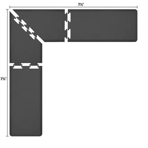 WellnessMats PuzzlePiece 2-Ft. L-Series Black 7.5x7.5 Premium Anti-Fatigue Mat