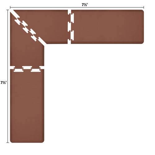 WellnessMats PuzzlePiece 2-Ft. L-Series Brown 7.5x7.5 Premium Anti-Fatigue Mat