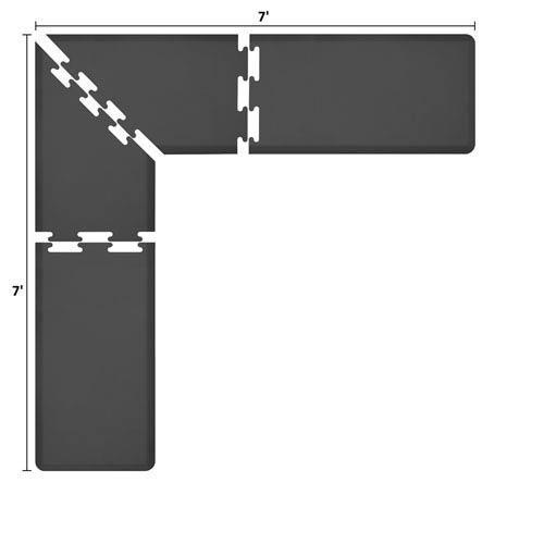PuzzlePiece 2-Ft. L-Series Black 7x7 Premium Anti-Fatigue Mat