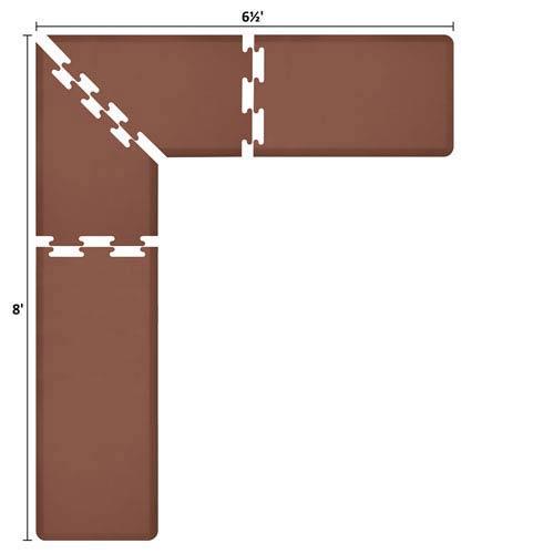 WellnessMats PuzzlePiece 2-Ft. L-Series Brown 8x6.5 Premium Anti-Fatigue Mat