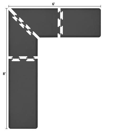 WellnessMats PuzzlePiece 2-Ft. L-Series Black 8x6 Premium Anti-Fatigue Mat