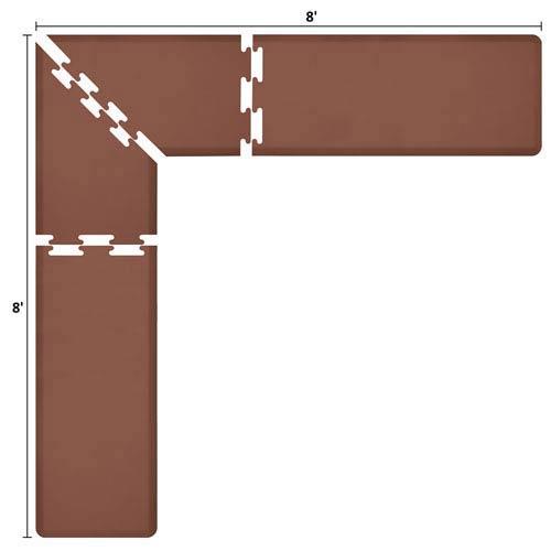 WellnessMats PuzzlePiece 2-Ft. L-Series Brown 8x8 Premium Anti-Fatigue Mat