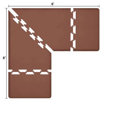 PuzzlePiece 3-Ft. L-Series Brown 6x6 Premium Anti-Fatigue Mat