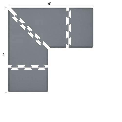 WellnessMats PuzzlePiece 3-Ft. L-Series Grey 6x6 Premium Anti-Fatigue Mat