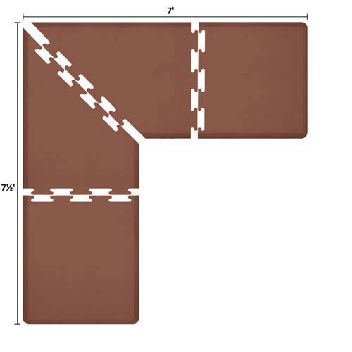 WellnessMats PuzzlePiece 3-Ft. L-Series Brown 7.5x7 Premium Anti-Fatigue Mat