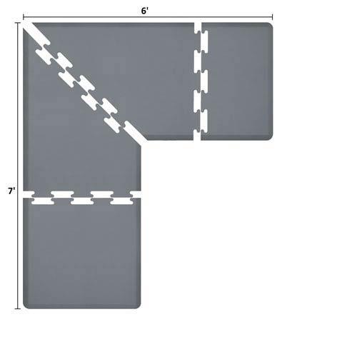 WellnessMats PuzzlePiece 3-Ft. L-Series Grey 7x6 Premium Anti-Fatigue Mat