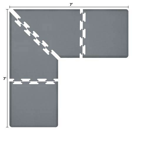 WellnessMats PuzzlePiece 3-Ft. L-Series Grey 7x7 Premium Anti-Fatigue Mat