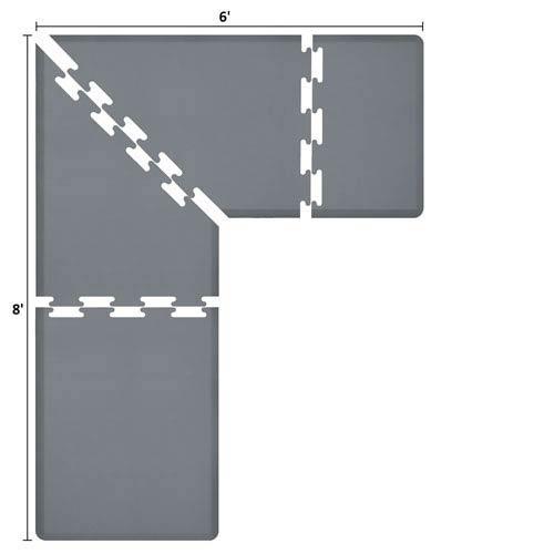 PuzzlePiece 3-Ft. L-Series Grey 8x6 Premium Anti-Fatigue Mat