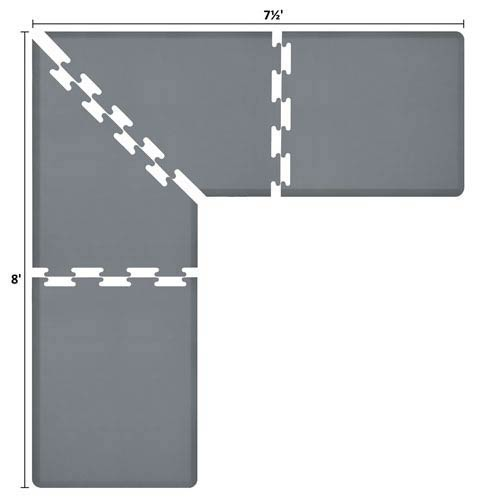 PuzzlePiece 3-Ft. L-Series Grey 8x7.5 Premium Anti-Fatigue Mat