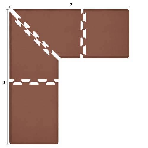 PuzzlePiece 3-Ft. L-Series Brown 8x7 Premium Anti-Fatigue Mat