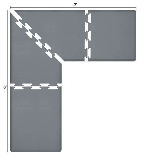 PuzzlePiece 3-Ft. L-Series Grey 8x7 Premium Anti-Fatigue Mat