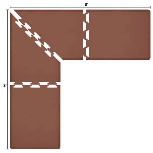 WellnessMats PuzzlePiece 3-Ft. L-Series Brown 8x8 Premium Anti-Fatigue Mat