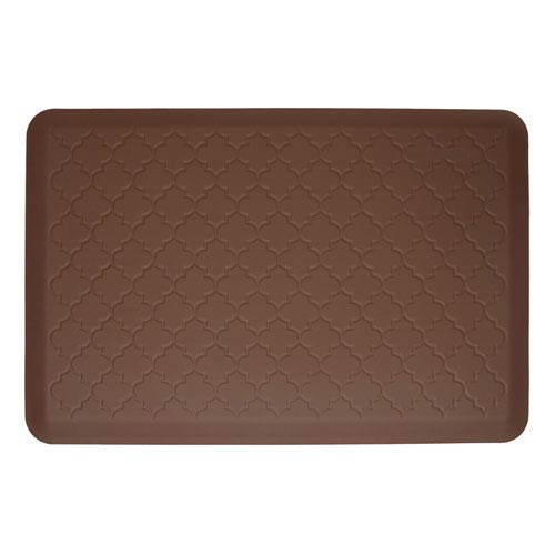 WellnessMats Motif Trellis Brown 3x2 Premium Anti-Fatigue Mat
