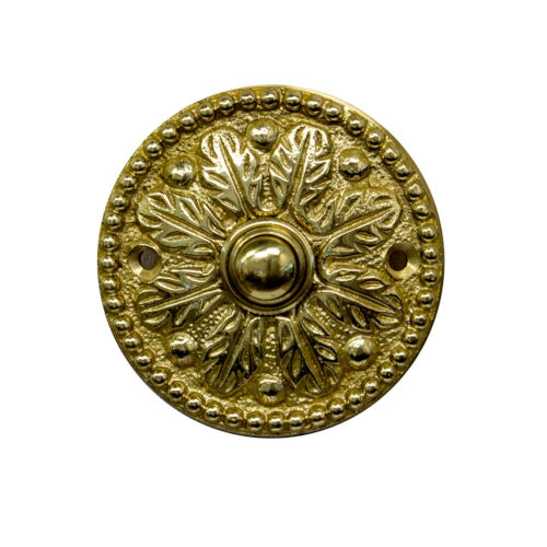 Ornate Polished Brass Round Doorbell Button Cover