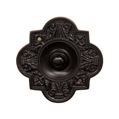 Ornate Dark Bronze Oval Doorbell Button Cover