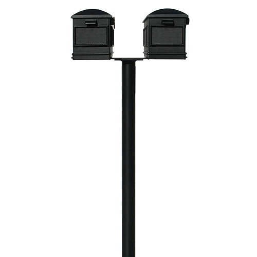 Hanford Black 70-Inch Twin Mailbox Post Mount