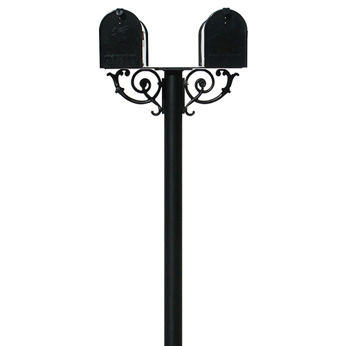 Hanford Black Scroll Support Twin Mailbox Post Mount