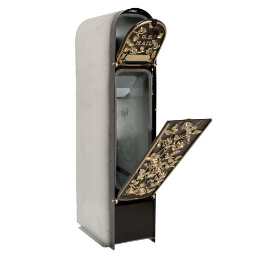 MailKeeper 100 Black and Gold 49-Inch Locking Column Mount Mailbox with Decorative Morning Rose Design Front
