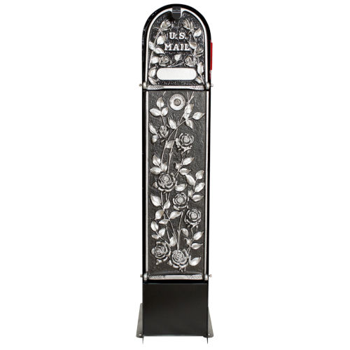 MailKeeper 100 Black and Silver 49-Inch Locking Column Mount Mailbox with Decorative Morning Rose Design Front