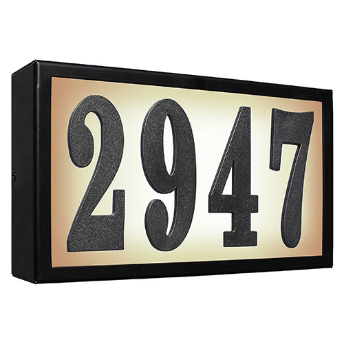Serrano Black 4-Inch Polymer Numbers Lighted Address Plaque