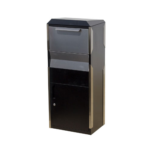 Winfield Black and Stainless Steel Locking Parcel Box