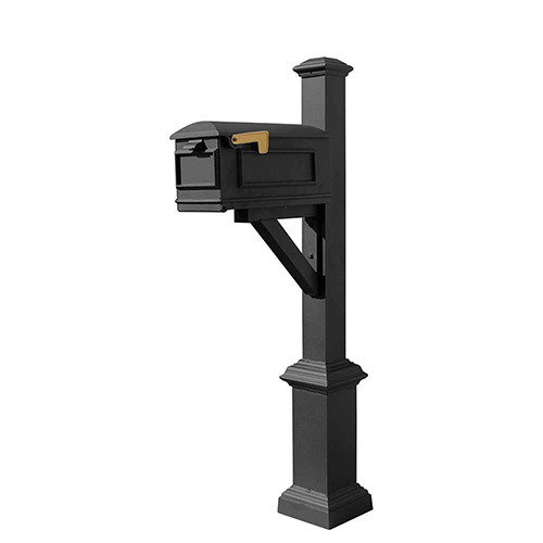 Westhaven Black Square Base and Pyramid Finial Mounted Mailbox Post