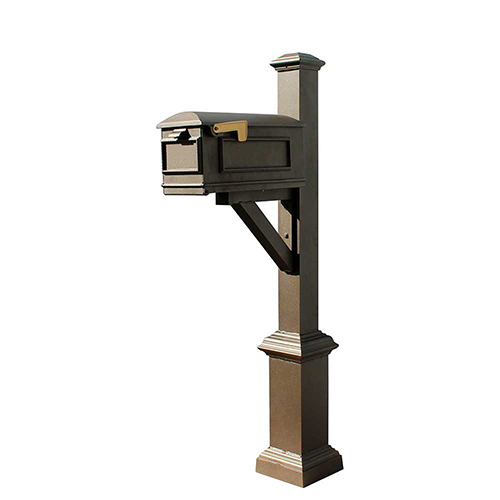 Westhaven Bronze Support Bracket Square Base and Pyramid Finial Mounted Mailbox Post