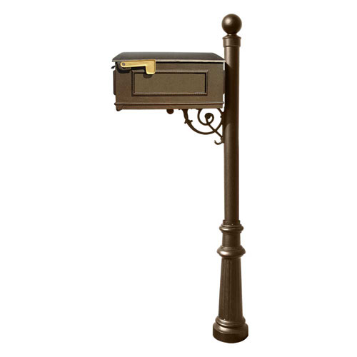 Lewiston Bronze Mailbox with Post, Fluted Base and Ball Finial