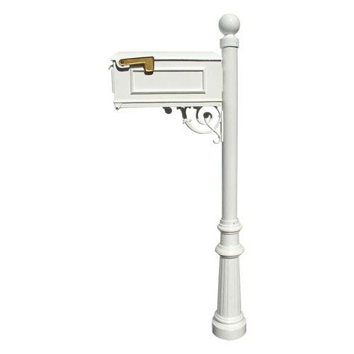 Lewiston White Mailbox with Post, Fluted Base and Ball Finial
