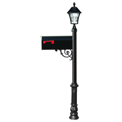 Lewiston Post with Economy 1 Mailbox, Ornate Base in Black Color with Black Solar Lamp