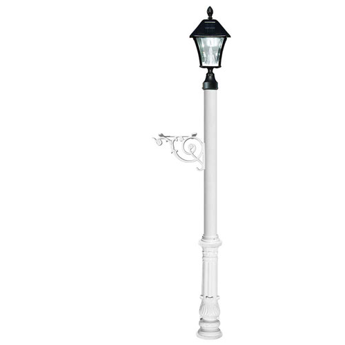 Lewiston Post Only with Support Brace, Ornate Base in White Color and Bayview Solar Lamp