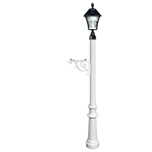 Lewiston Post Only with Support Brace, Fluted Base in White Color and Bayview Solar Lamp