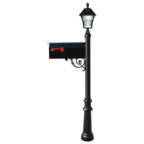 Lewiston Post with Economy 1 Mailbox, Fluted Base in Black Color with Black Solar Lamp