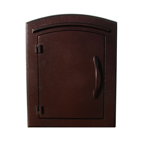 QualArc Manchester Antique Copper Non-Locking Column Mount Mailbox