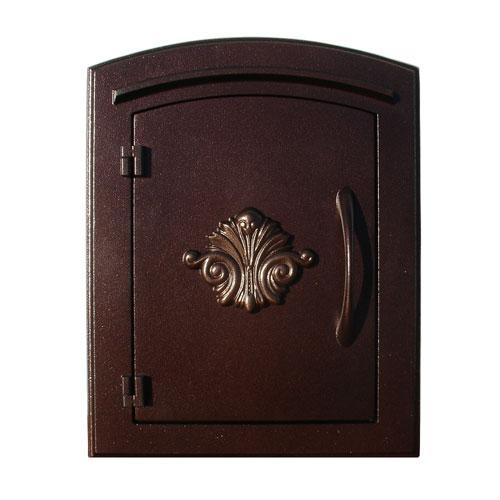 QualArc Manchester Antique Copper Non-Locking Decorative Scroll Door Column Mount Mailbox