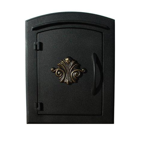 Manchester Black Non-Locking Decorative Scroll Door Column Mount Mailbox
