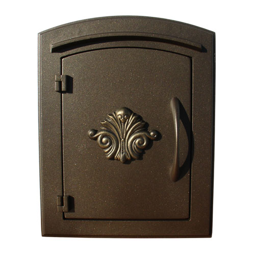 QualArc Manchester Bronze Non Locking Decorative Scroll Door Column Mount  Mailbox