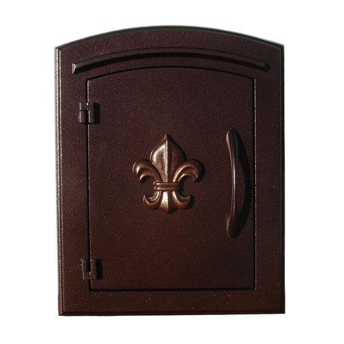 Manchester Antique Copper Non-Locking Decorative Fleur-De-Lis Door Column Mount Mailbox