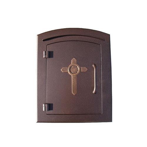 QualArc Manchester Antique Copper Non-Locking Decorative Cross Logo Door Column Mount Mailbox