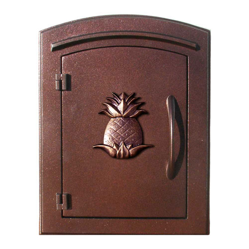 QualArc Manchester Antique Copper Non-Locking Decorative Pineapple Logo Door Column Mount Mailbox