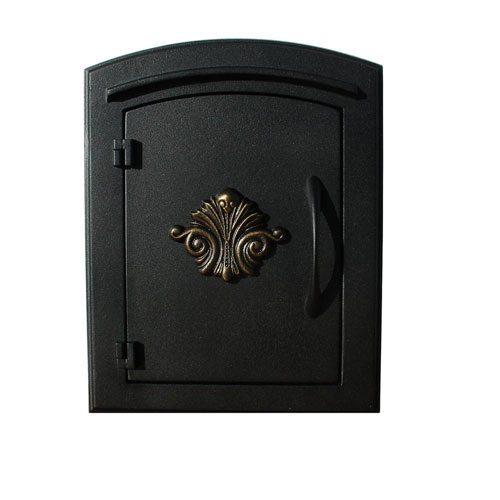 Manchester Black Security Option with Decorative Scroll Door Manchester Faceplate