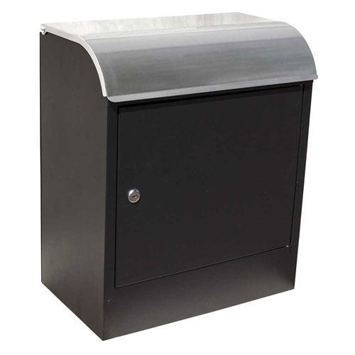 Selma Locking Mail and Parcel Box Black with Stainless Steel